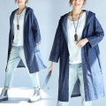 Plus Size 2016 Autumn Elegant Fashion Women Long Denim Jean Trench Ladies Female Big Loose Light Blue Cardigans Outerwear Coat