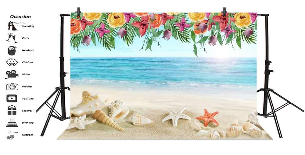 68d7cab44c ... Laeacco Sea Beach Starfish Shell Sand Flower Pattern Party Photographic  Backgrounds Photography Backdrops For Studio Shoot ...