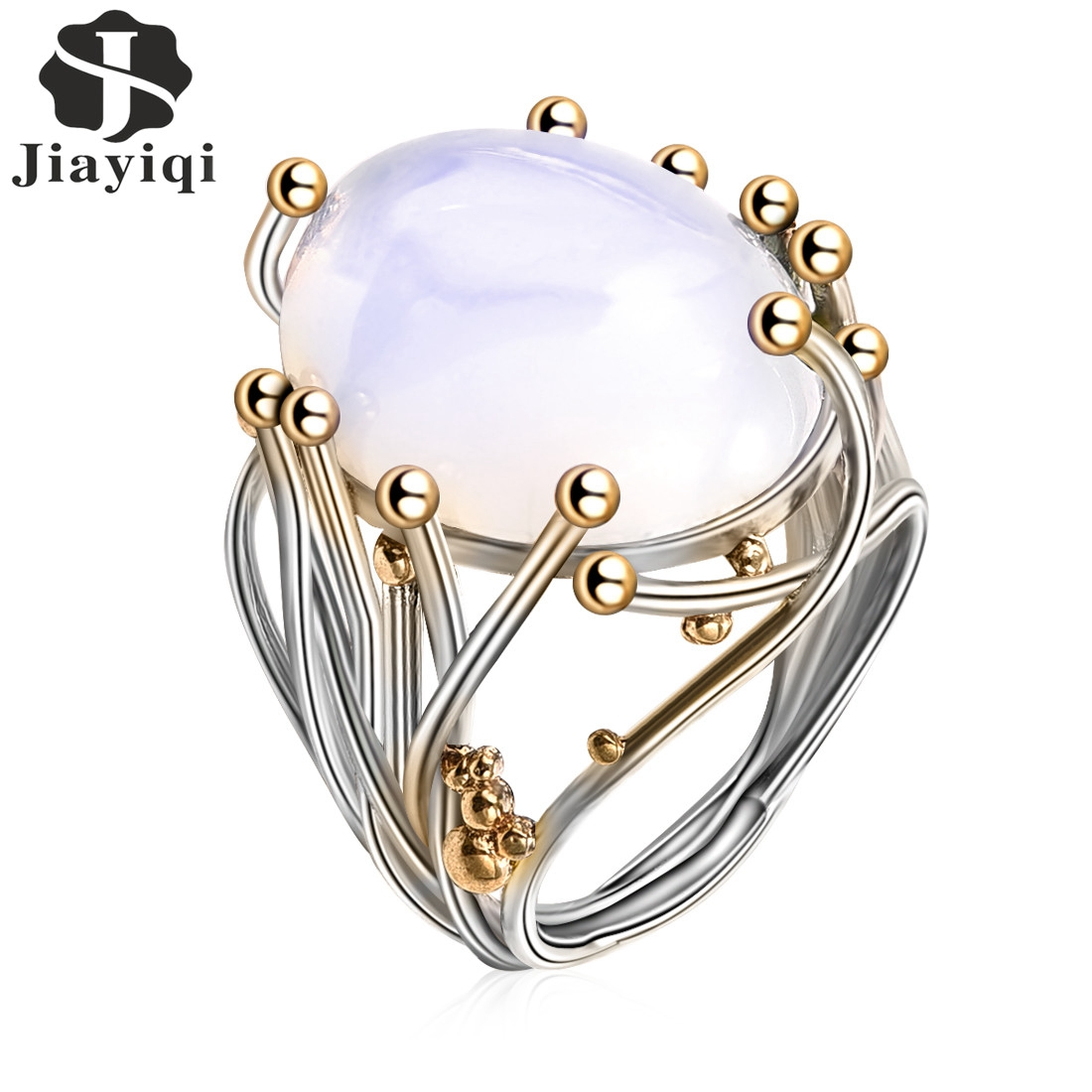 2018 Vintage Silver Color Natural Moonstone Ring White Opal Vine Rings For Women Wedding Jewelry(China)