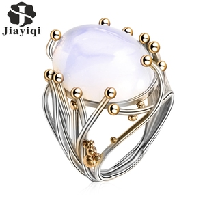 2018 Vintage Silver Natural Moonstone Ring White Opal Vine Rings For Women Wedding Jewelry(China)