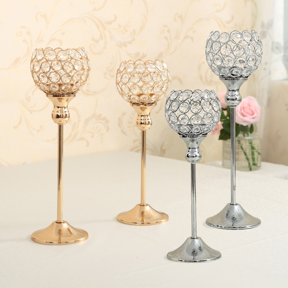 Crystal Table Lamp Metal Candle Holder For Wedding