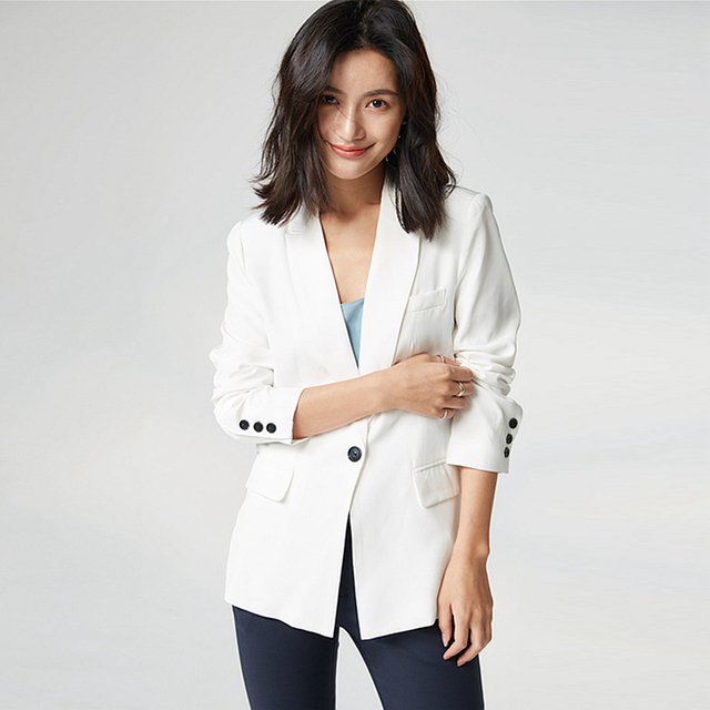 High Quality Blazers Women Suit 100% Silk Fabric Simple Design Long Sleeve Single Button Solid Suit Elegant New Fashion 2018