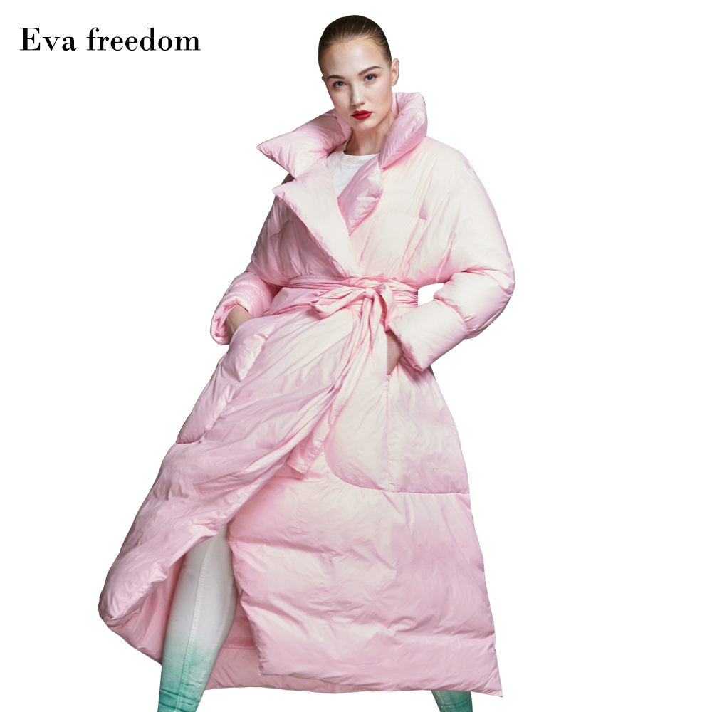 Eva freedom 2018 winter stylish down jacket women s long thicken big quilt down coat with