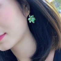 Qi Xuan_Trendy Jewelry_New Long Maple Leaf Earring S925 Silver Inlay Zircon Elegant And Irregular Irregular_Factory Direct Sales