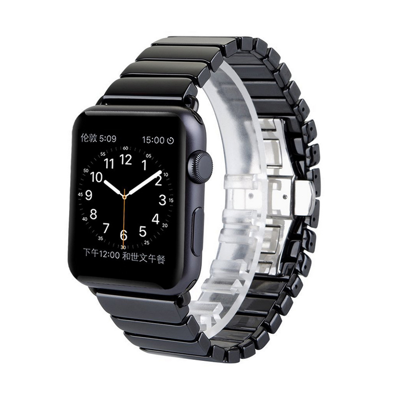 Fashion ceramic band for Apple watch Series 3 / 2 link bracelet strap with adapter for iWatch 42mm 38mm bands Black White