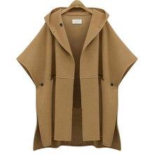 Осень зима размера плюс XL-5XL Европейский стиль женское пальто Летучая мышь с коротким рукавом модные куртки с капюшоном Свободная Женская верхняя одежда