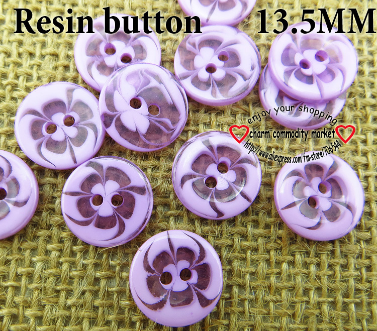 150PCS 13.5MM transparent flower shape purple Dyed RESIN buttons coat boots sewing clothes accessories R-135-6