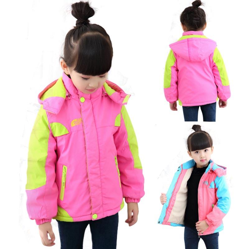 Kids Winter Jackets Girls Coats With Hood Waterproof Girls Coat Autumn Outerwear Windbreaker Pink Children Clothes 11 12years