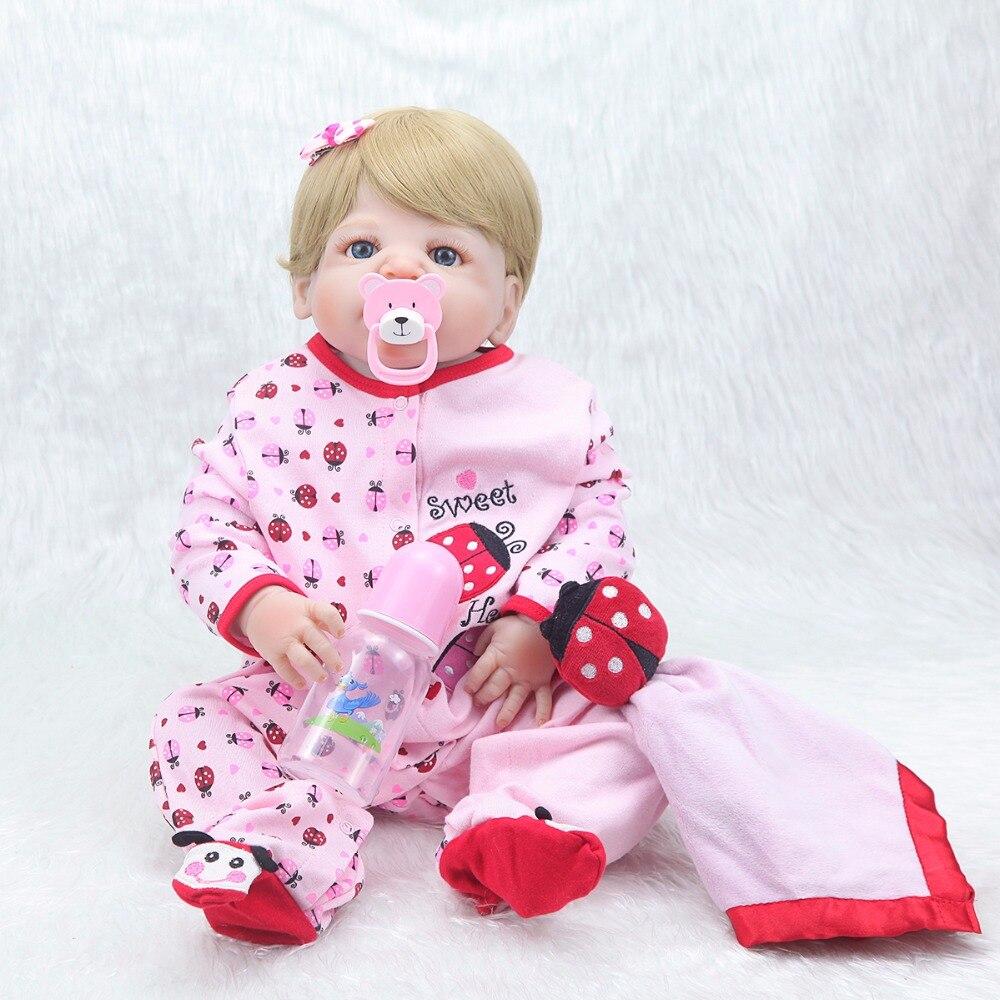 22 inch del bambino del bambino risurrezione del silicone bionda occhi azzurri del bambino regalo di compleanno bambola cute del bambino coccinella set-in Bambole da Giocattoli e hobby su  Gruppo 2