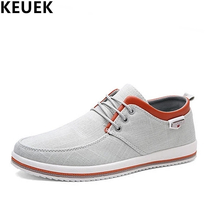 Big Size 39-47 Top Selling Mens Casual Shoes MaleFlats Fashion Lace-up Men Loafers Breathable Canvas Shoes Blue Gray Black 3A