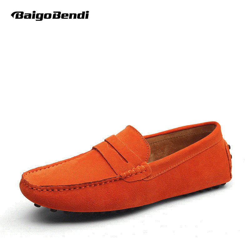 9 Colors US Size 5-11 Real Cow Leather Men Driving Moccasin Loafer Shoes 2 colors us size 6 10 slip on leather casual men driving loafer moccasin summer sandals shoes