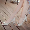 2017 Spring Autumn Fashion Women Nude shoes Korean style Peep Toe High-heeled shoes Black White and Pink colors