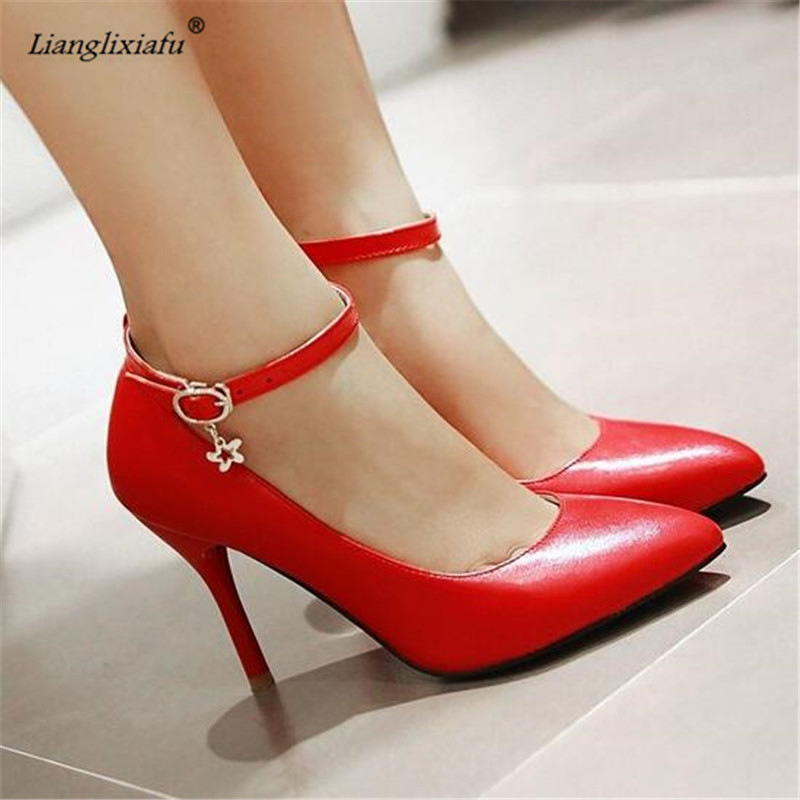 LLXF Spring thin high-heeled pointed toe single shoes women buckle pumps small yards 31 32 33 plus size 40 41 42 43 44 45 46 47 lady big size 4 15 elegant summer glitter buckle strap soft pointed toe thin high heeled sandals shoes women pumps 5colors girls