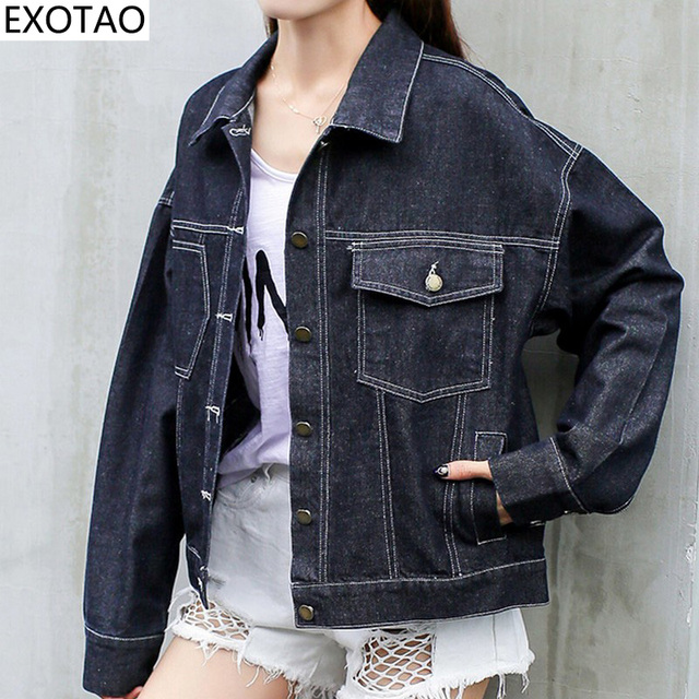 2cbcc79bd2882 EXOTAO Back Print Harajuku Jeans Jackets Women 2017 Winter Black Denim  Coats Female Long Sleeve Turn