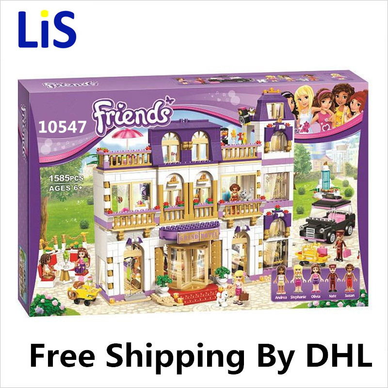 Lis BELA 10547 Girl Series Heart Lake City Hotel Girl Friends Building Blocks Figures Bricks Toys Compatible with Lepin 218 lepin 02012 city deepwater exploration vessel 60095 building blocks policeman toys children compatible with lego gift kid sets