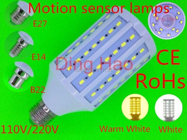 30 W E27 E14 B22 5730 Smd 98led 110 V/220 V Auto Sensor Led Bulbo de milho Luz Senso de Movimento Do Corpo Humano lâmpada Interior da lâmpada de iluminação de emergência