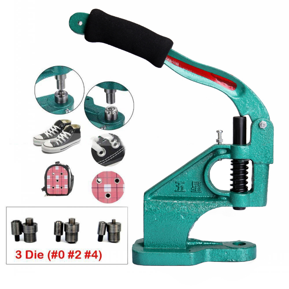 (Ship from America) Industrial Grommet Button Machine Maker Eyelet Hand Press Presser Punch Tool For Banner Bags Shoes snap button machine play button rivet machine corn machine new design metal manual eyelet machine
