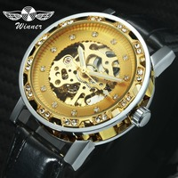 WINNER Watch Men Automatic Mechanical Watches 3D Index Design Golden Skeleton Dial Leather Strap Top Brand Luxury Wristwatch