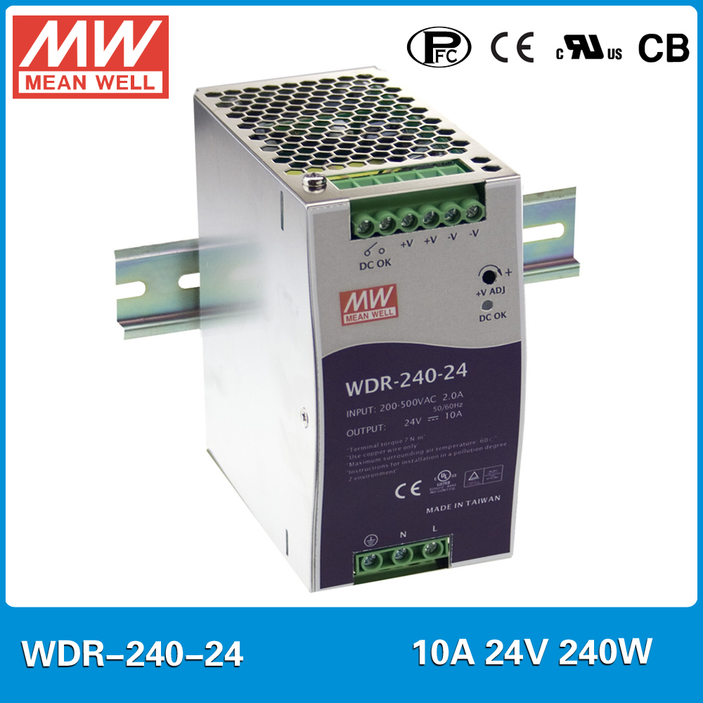 Original MEAN WELL WDR-240-24 240W 10A 24V Industrial DIN Rail Power Supply 24V 24W Single and two phase wide input with PFC все цены