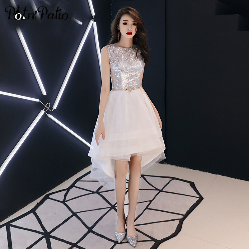 Sexy Shiny Squines White High Low   Prom     Dresses   Sleeveless Tiered Tulle Short Front Long Back Graduation Party   Dresses   2019