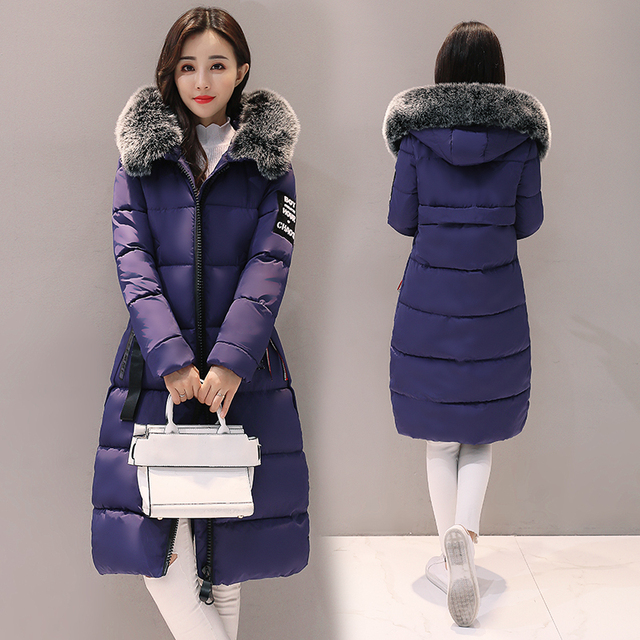 2017 Fashion Large Fur Collar Winter Parka Women Thickening Warm Ladies Coat Slim Long Clothing Plus Size Jacket Female Coats