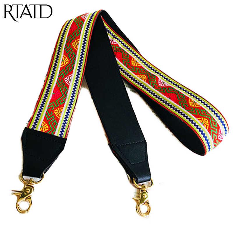 Новые сумки ремень классическая вышивка дизайн Золотая Пряжка Холщовая Сумка ремешки модный легко держать сумки ремни Q0119