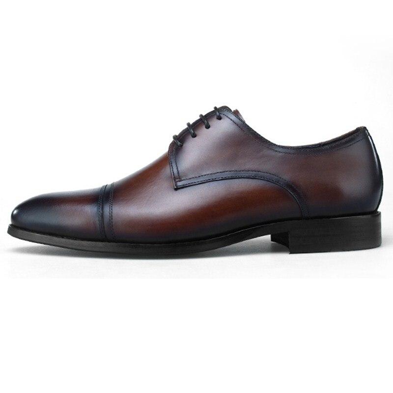 Mode noir/marron Tan robe de mariée chaussures en cuir véritable Oxfords hommes chaussures d'affaires - 2