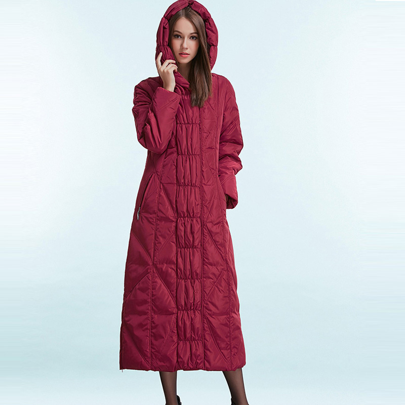 2017 New Fashion Winter Warm Parkas Outerwear Womens Slim Long Hooded Down Jackets Female Maxi Down Coats Overcoat YR16D067