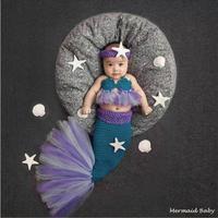 Nova chegada adereços fotografia de Recém-nascidos headband + bra + cauda de sereia traje handmade fios de tricô de algodão outfits 0-1 M ou 3-4 M