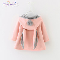 2018 Spring Autumn Baby Girls Clothes Jacket Infants Ball Cute Rabbit Hooded Princess Jacket Coats Outwears