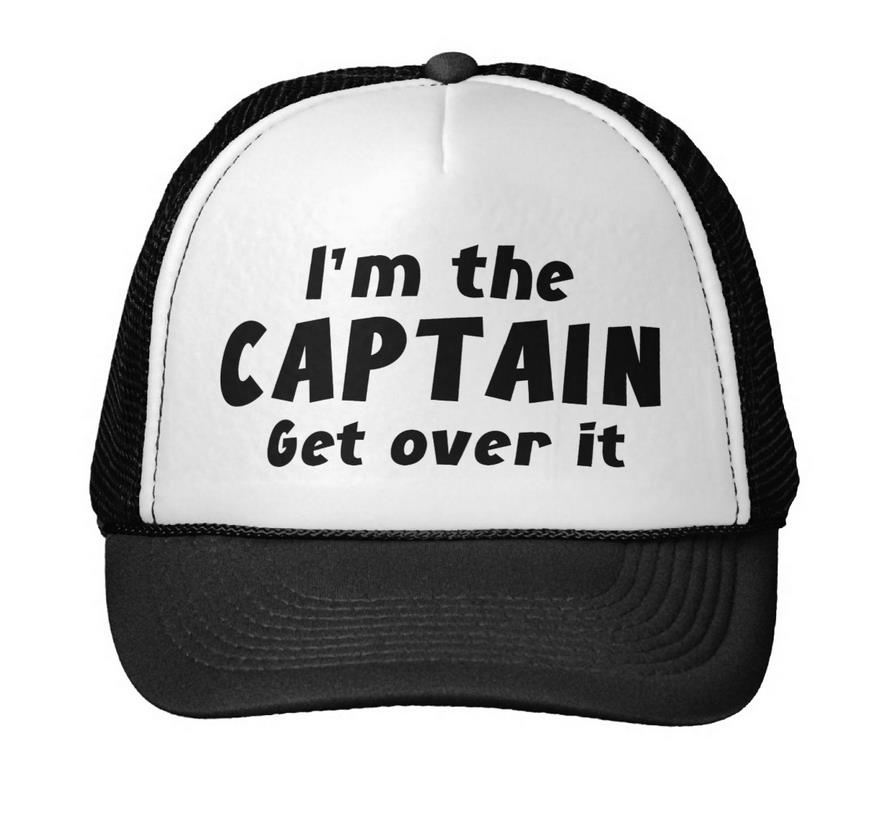 I'M The Captain Get Over It Print Baseball Cap Trucker Hat For Women Men Unisex Mesh Adjustable Size Black White Drop Ship M-69