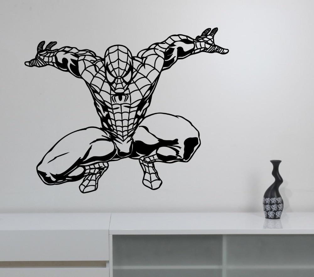 US $5.17 25% OFF|Spiderman Wall Sticker Marvel Comics Art Superhero Vinyl  Decal For Kids Rooms Boys Bedroom House Decoration Decor Poster WW 74-in ...