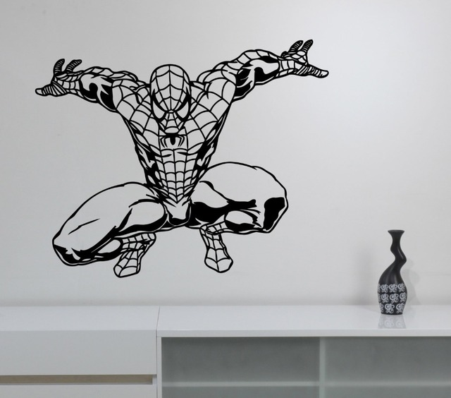 Spiderman Wall Sticker Marvel Comics Art Superhero Vinyl Decal For Kids  Rooms Boys Bedroom House Decoration