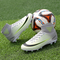 Men Soccer Shoes Indoor High Ankle Football Boots Cleats Boys Kids Crampons Football Haute Cheville Big Size 36 48