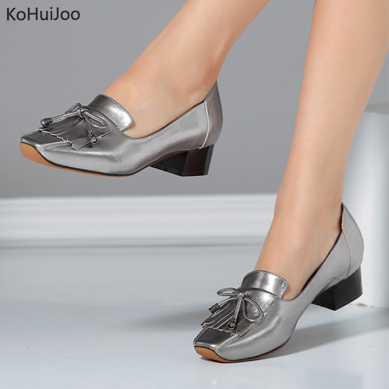 KoHuiJoo Genuine Leather High Heels Silver Shoes Women Wine Red Gun Color Pumps Slip on Cross-tied Chunky Heels for Women Pumps 2016 genuine leather women pumps shoes high heels tassel slip on cowhide chunky heels vintage style