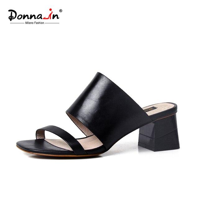 Donnain 2017 летние новые стили телячьей кожи на среднем каблуке Дамские Тапочки кожаные сандалии