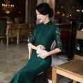 Nueva Llegada Del Cordón Verde Vestido Largo Cheongsam de La Manera Del Estilo Chino de Las Mujeres elegante Qipao Vestidos Tamaño Sml XL XXL XXXL 411998
