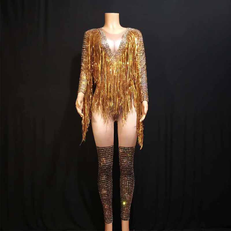 Sexy Tassels Crystals Jumpsuit Female Singer Dancer Leggings Costume Big Stretch Bodysuit Nightclub Oufit DJ Party Wear Outfit