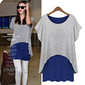 European Summer Casual Bat Sleeve T-shirt Women Fake Two Piece Hit Color Dovetail Asymmetric Long T shirts Women Tops M-5XL