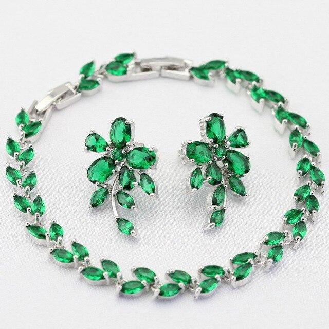 Unique Vintage Hoja Verde Esmeralda Simulado Color Plata Mujeres ...
