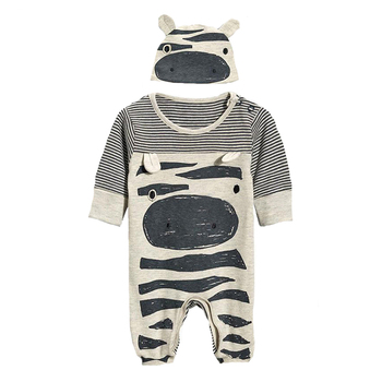 2017 Autumn Clothes Boy Baby Rompers Cartoon Cow Pattern Jumpsuit+Cap Stripe Rompers Brand Newborn Long Sleeve Clothing Girls 1