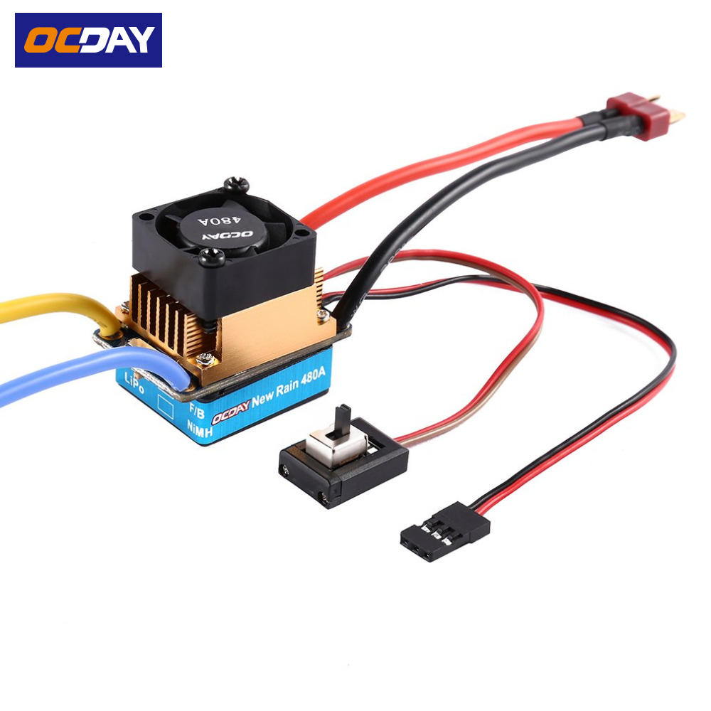 1pcs OCDAY 2-3 Lipo/6-9NiMH 60A Dual Mode Brush Speed Controller ESC Regulator With Cooling Fan For 1/10 RC Car 1pcs new rain 320a brushed esc speed controller dual mode regulator band brake 5v 3a for 1 10 rc car rc boat dropship