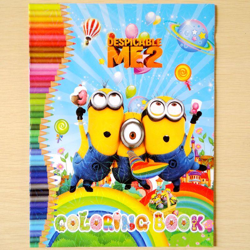 aliexpress com buy 20pcs children coloring book cartoon minion