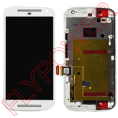 ФОТО For Motorola MOTO G2 XT1063 XT1068 XT1069 LCD Screen Display with White Touch Screen Digitizer + Frame Assembly free shipping