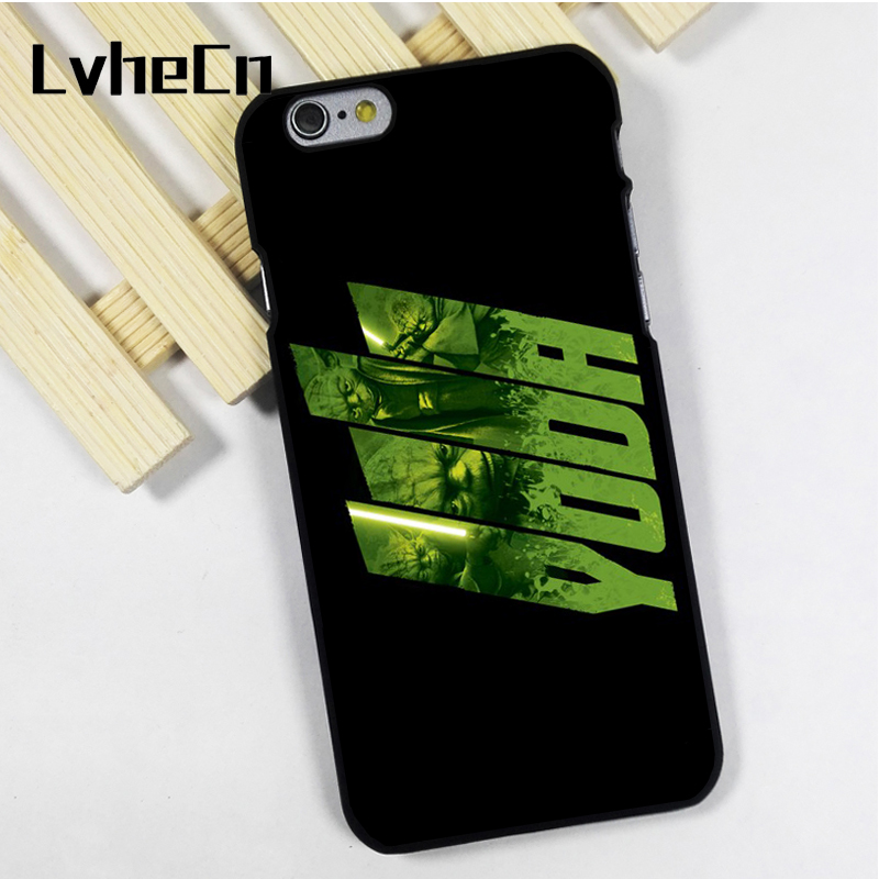 LvheCn phone case cover fit for iPhone 4 4s 5 5s 5c SE 6 6s 7 8 plus X ipod touch 4 5 6 Yoda Jedi Star Wars Light Saber Art