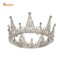 2018 Bridal Headwear Crystal Pearls Round Crowns Queen Tiaras For Wedding Party Birthday Gifts Miss Head Decorations T044