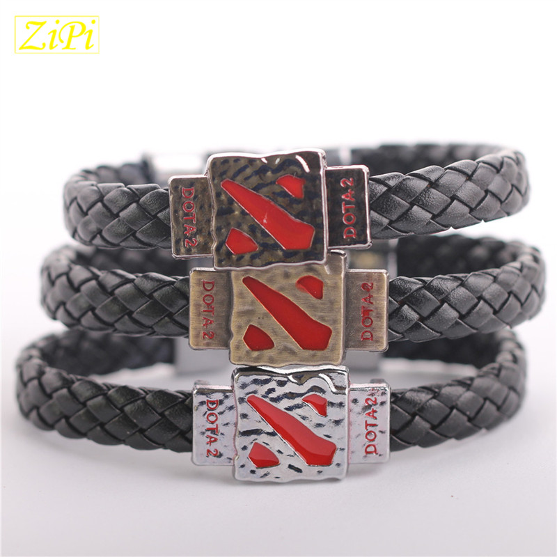 Zipi 10pcs/lot Selling New alloy leather bracelet DOTA2 Online games wholesale