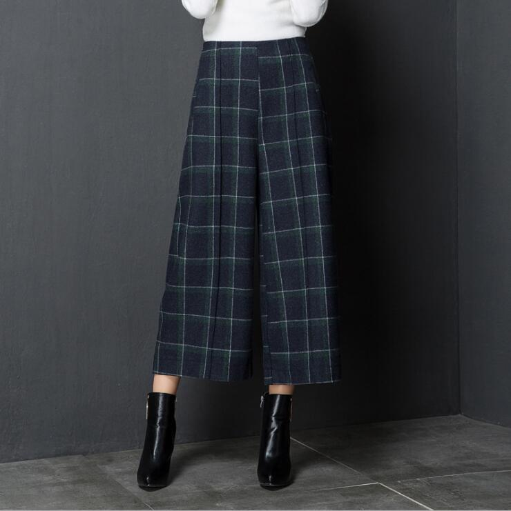 autumn winter plaid   wide     leg     pants   women's loose big size leisure thin woolen straight   pants   trousers