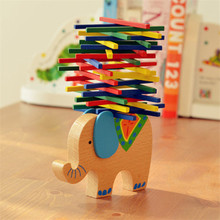 Baby Wooden Building Blocks Balance Toy Domino Stacker Extract Game Montessori Educational Animal Elephant Camel Gift For Child