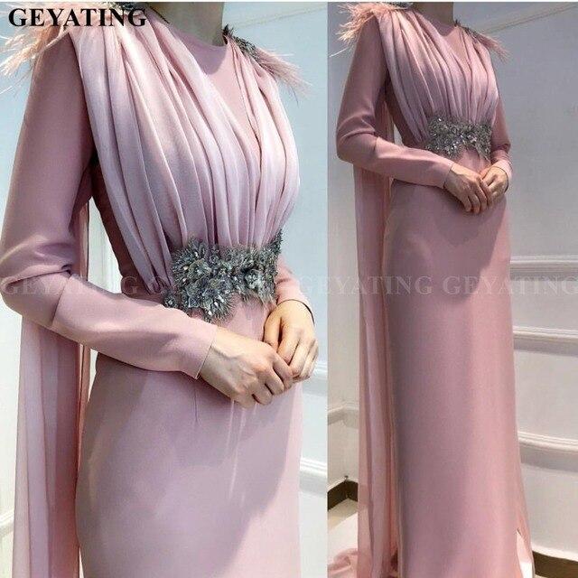 Muzułmańskie długie rękawy różowe arabskie suknie wieczorowe 2020 marokański Kaftan dubaj formalna sukienka z Cape Feather lekka niebieska sukienka na studniówkę